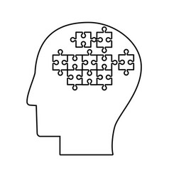 Human head puzzle creative outline vector
