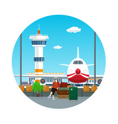 Icon waiting room with a woman and luggage vector