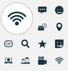 Internet icons set collection of chat inbox vector
