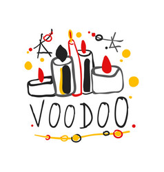 Kid s style drawing voodoo magic logo or label vector