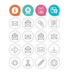 Mail services icons mail clip and download vector