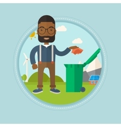 Man throwing away trash vector