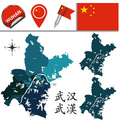 Map of wuhan with divisions vector