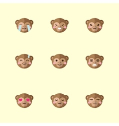 Minimalistic flat monkey emotions icon set vector