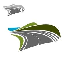 Modern road highway turning on the horisont vector