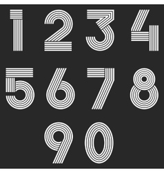 Numbers set hipster parallel offset thin lines vector