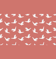 origami bird seamless patternon red background vector image