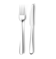 realistic fork and knife mockup vector image