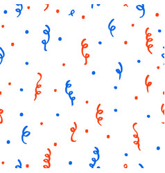 Red and blue confetti on a white background vector