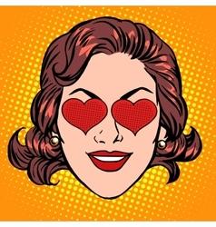 Retro emoji love heart woman face vector