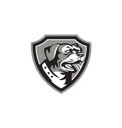 Rottweiler Guard Dog Shield Black and White vector image vector image