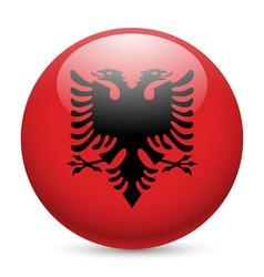 Round glossy icon of albania vector