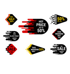 sale sticker set with hand drawn elements in vector image