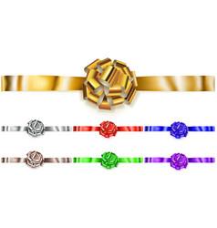 set of horizontal big bows of shiny ribbons vector image