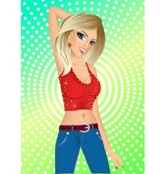 sexy blonde girl in night club vector image vector image