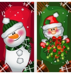 Snowman and santa claus image on the fabric vector