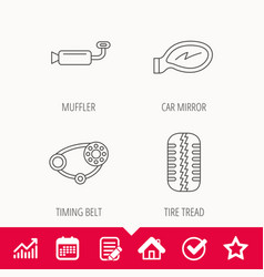 tire tread car mirror and timing belt icons vector image vector image
