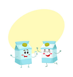 two funny carton box character one offering milk vector image vector image
