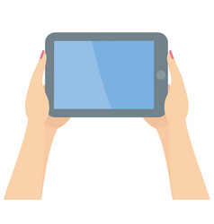 two woman hands holding tablet vector image