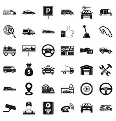 Venicle icons set simple style vector