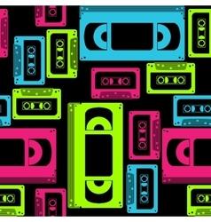 vhs cassette seamless pattern vector image vector image