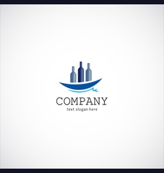 wine ship company logo vector image