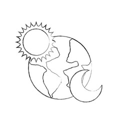 World planet earth with sun and moon vector