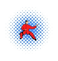 Wushu fighter icon in comics style vector