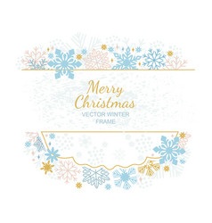 xmas card snow flake frame white background vector image