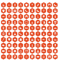 100 stylist icons hexagon orange vector