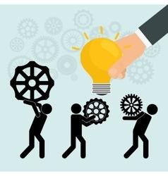 Pictogram gears hand bulb teamwork design vector