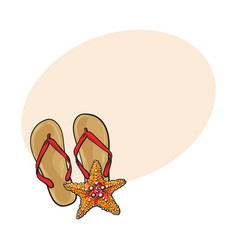Pair of flip flops and starfish symbols of beach vector