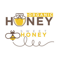 Organic sweet honey logo design in flat style vector