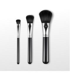 Set of clean professional makeup powder brush vector