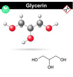 Glycerol chemical formula and 3d model vector