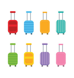 Set collection of colorful luggage suitcases vector