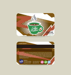 Front and back coffee voucher of member card vector