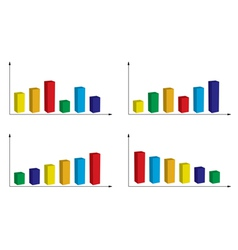 set of color graphs vector image