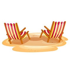 Two beach chairs vector