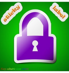 Lock icon sign symbol chic colored sticky label on vector