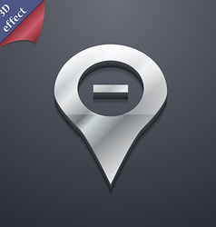 Minus map pointer gps location icon symbol 3d vector