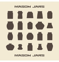 Mason jars silhouette icons set vector