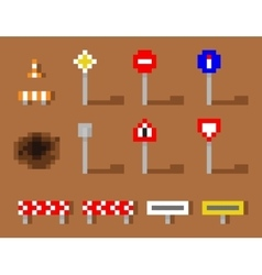 Pixel art road sign icon set brown road vector