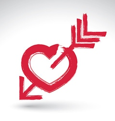 Hand drawn red love heart icon brush drawing vector