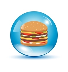Burger in a water drop vector