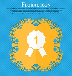 Award medal icon floral flat design on a blue vector