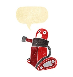 Cartoon tank robot with speech bubble vector