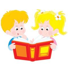 Girl and boy read a book vector