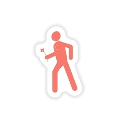Paper sticker on white background man with flower vector