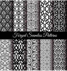 Forged seamless patterns set vector